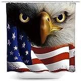 HNB USA Patriotischer Adler Duschvorhang für Home Decor Vourth of Juli Independence Day Badvorhang Amerikanische Flagge