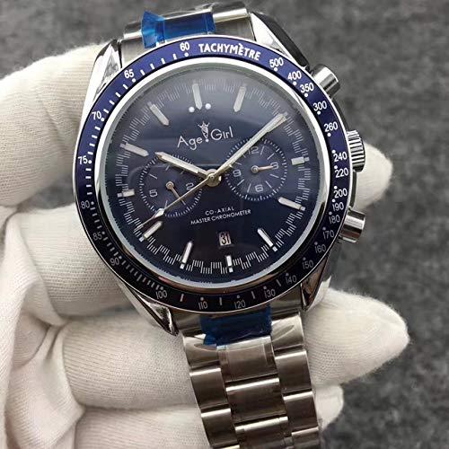HNOLVH Neue Herren Automatik Mechanische Uhren Speed Schwarz Blau Leder Leinwand Leuchtende Mondphase Uhr Dunkle Keramik Lünette 11