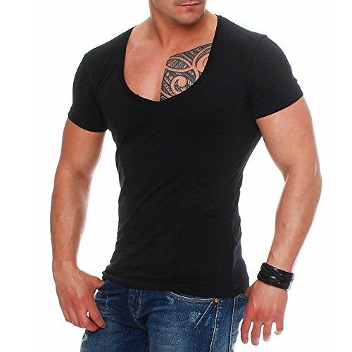 92O3 Young & Rich 1315 V-Neck Herren T-Shirt V-Ausschnitt Slim Fit Schwarz L