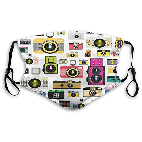 Comfortable Printed mask,Vintage, Vintage Old Fashioned Photo Cameras Hobby Studio Themed Graphic Design,Multicolor,Windproof Facial decorations for Teens (One + 10 Filters)