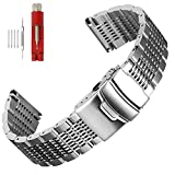 Solid Mesh Stainless Steel 20mm Watch Bands Bracelets Buckle Brushed/Polished Strap for Men Women