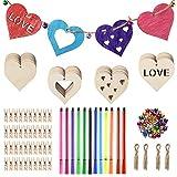 40 piezas de adornos de madera con forma de corazón para proyectos de madera natural, bolígrafo de acuarela clavijas cordel campanas para manualidades, decoración de bodas y etiquetas de regalo