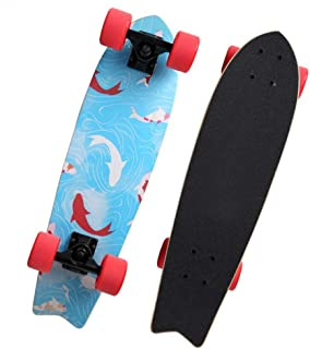 DZQZR Complete Skateboard, Retro Cruiser Deck Perfect for Beginners Experienced Skater Skating, Maple Wooden Deck Board Great for Kids and Adult