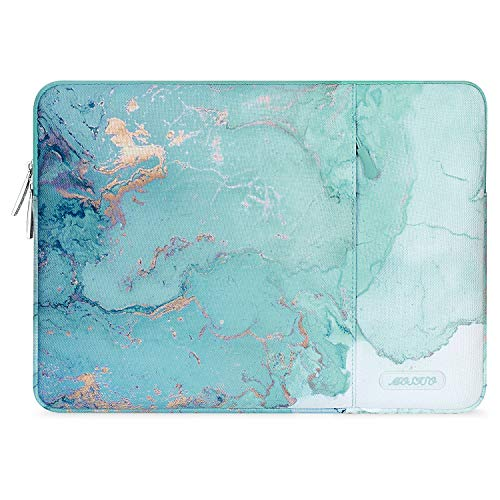 MOSISO Laptop Hülle Kompatibel mit 13-13,3 Zoll MacBook Pro, MacBook Air, Notebook, Polyester Vertikale Aquarell Marmor Sleeve mit Tasche,Grün