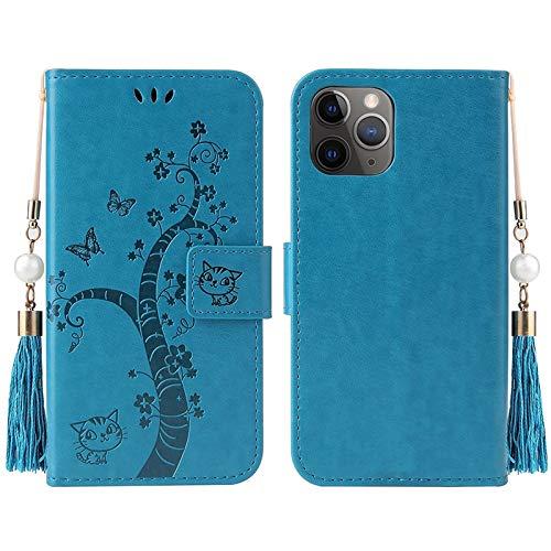 RZL Teléfono móvil Fundas para iPhone 12/12 Pro/Pro 12 MAX 12 Mini, Cubierta de Lujo en Relieve del Gato y del árbol de la PU Billetera de Cuero del tirón para el iPhone Pro 11/11 Pro MAX