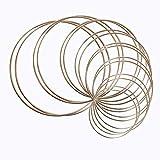 16 aros de metal, aros de metal, aros de macramé, para atrapasueños y manualidades, anillos de metal, anillos de atrapasueños para manualidades, decoración de pared, 8 tamaños (dorado)