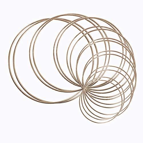 16 Stück Metallringe, Kreolen aus Metall, Makramee, Ring für Traumfänger und Basteln, Metallringe, Traumfänger-Ringe für DIY Dekoration, Wanddekoration, 8 Größen (Gold)