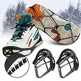 Hielo Botas para la Nieve Zapatos Pinzas Crampones Tacos de tracción Botas Antideslizantes universales Zapatos Picos para Caminar Correr Escalada Senderismo (Mujer)