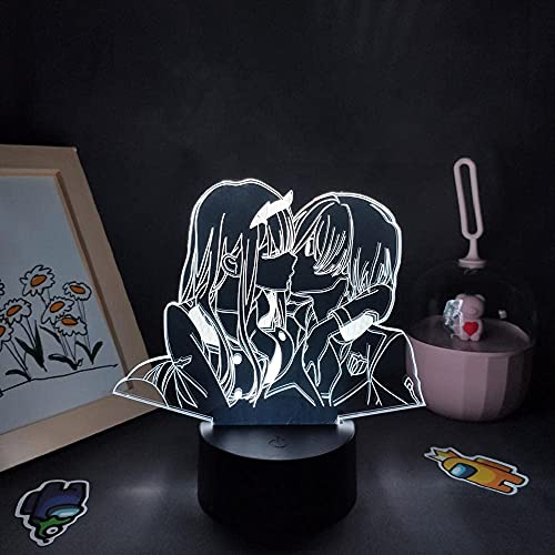 FZRZGDSH Lámpara de ilusión 3D Luz de Noche Darling in The Franxx Anime Figura Zero Two 02 Lámparas LED Hiro RGB Presente para niñas Mesita de Noche Decoración de Mesa con Control Remoto