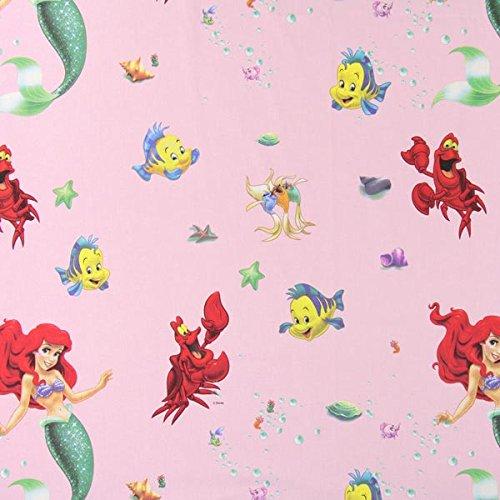 Fabulous Fabrics Disney Arielle Baumwollstoff 2 rosa — Meterware ab 0,5m — zum Nähen von Dekoration, Vorhänge und Bettwäsche