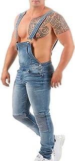 huateng Hombre Ripped Jeans Bib Overoles Peto Jeans Monos