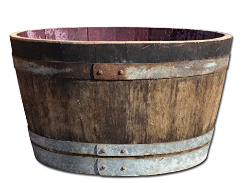Temesso Half wine barrel solid oak wood - rustic - as rain barrel, flower pot or mini-pond - Dia 70cm (with retaining straps)