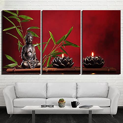 LZASMMVP HD Stampato 3 Pezzi Canvas Wall Art Zen Buddha Red Painting Immagini a Parete modulari per Soggiorno Camera da Letto | 50x75cmx3 Senza Cornice