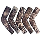 18.1x2.9x4.7' 5pcs Unisex Dark Set Elastic Slip on Fake Temporary Tattoo Sleeves Body Art Arm Sunscreen Cover up Stockings Accessories for Men and Women Outdoor Sport Cycling Driving Runnig Climbing