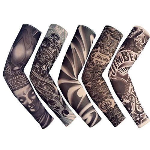 18.1x2.9x4.7 5pcs Unisex Dark Set Elastic Slip on Fake Temporary Tattoo Sleeves Body Art Arm Sunscreen Cover up Stockings Accessories for Men and Women Outdoor Sport Cycling Driving Runnig Climbing