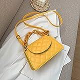 HKFG Bolso de Mensajero pequeño de Cadena para Mujer, diseño de celosía, diseño clásico, de Cuero PU, Bolso de Hombro de Caramelo Diario, Bolsos Cruzados