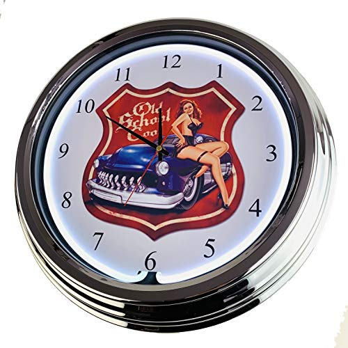Neon Uhr Old School Cool Wanduhr Deko-Uhr Leuchtuhr USA 50's Style Retro Neonuhr Esszimmer Küche Wohnzimmer Büro (Weiß)