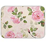 Absorbent Dish Drying Mat Vintage Pink Roses Dishes Drainer Protector Pad Trivet Mat Pot Holder with Hanging Loop for Kitchen Countertops Sinks Refrigerator 18 x 24 Inch