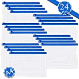 24 Buste Sacchetti di Plastica con Cerniera - Trasparenti A4 Buste da lettera Portafogli in Plastica Borsa impermeabile per Documenti Organizer Materiale in PVC per ufficio Forniture per famiglia