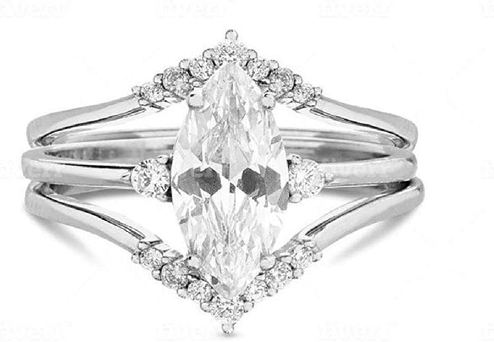 Ayaan Jewel Marquise Cut White Diamond in 925 Sterling Free shipping anywhere in the nation 14 Special sale item Silver