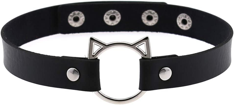 RUITASA Adjustable Leather Choker Collar Sexy Soft PU Cat Punk Choker Necklace for Women Girls