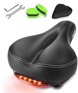 IPSXP Sillín Bicicletacon Dos amortiguadores, Asiento de Bicicleta Relleno con Espuma de Gel, para MTB/Bicicleta de Carretera/Bicicleta Urbana