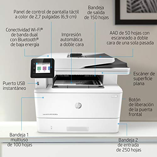 HP LaserJet Pro MFP M428fdw - Impresora láser multifunción, monocromo, Wi-Fi, Ethernet (W1A30A)