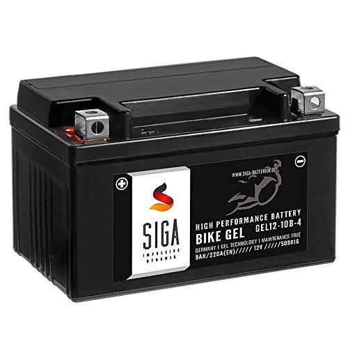 SIGA Gel Motorradbatterie 12V 9Ah 220A/EN Gel Batterie YTZ10-S GEL12-10B-4 YT10B-4 GTZ10-4 GT10B-4 TTZ10S-4