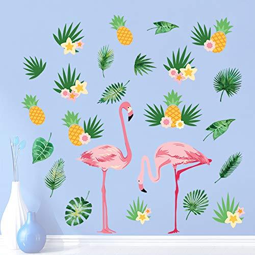 decalmile Wandtattoo Flamingo Wandsticker Tropische Blätter und Ananas Wandaufkleber Wohnzimmer Schlafzimmer Büro Wanddeko