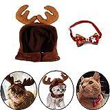 kungfu Mall 1 Pieza de Disfraz de Navidad para Mascota, Gato, Perro, Cuernos de Reno, Gorro de Cabeza, 1 Pieza Collar de Perro y Gato Ajustable con corbatín