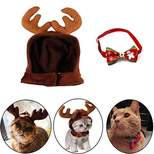 kungfu Mall 1 Pieza de Disfraz de Navidad para Mascota, Gato, Perro, Cuernos de Reno, Gorro de Cabeza, 1 Pieza...
