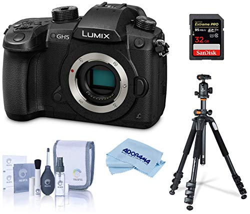 Panasonic LUMIX GH5 4K Digital Camera, 20.3 Megapixel Mirrorless Camera, DC-GH5 (Black), Bundle with Vanguard Alta Pro 264AB 100 Aluminum Tripod with SBH-100 Ball Head + 32GB SD Card + Cleaning Kit