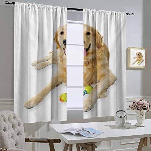 Mozenou Golden Retriever Best Home Fashion Thermal Insulated Blackout Curtains Pet Dog Laying Down with Toy Friendly Domestic Puppy Playful Companion Curtain Door Panel 52x54 Inch Multicolor