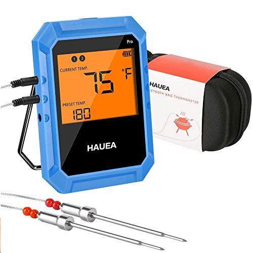 HAUEA Bluetooth Meat Thermometer, Wireless Meat Thermometer for Grilling with 2 Stainless...