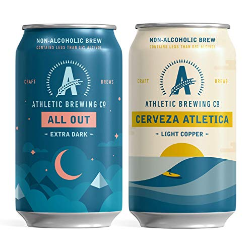 Athletic Brewing Company Craft NA - 6-Pack Cerveza Atletica and 6-Pack All Out- Low-Calorie, Award Winning - All Natural Ingredients For A Great Tasting Drink - 12 Fl Oz Cans