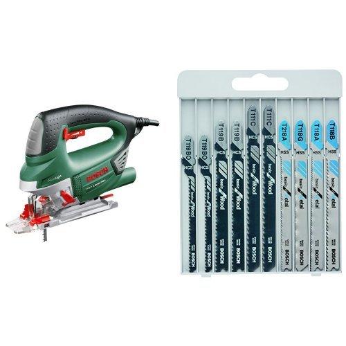 Bosch PST 1000 PEL - Sierra de calar de carrera pendular, color verde + 2 607 010 630 - Herramienta