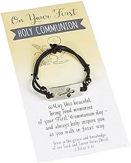 First Communion Black Stretch Bracelet with Cross