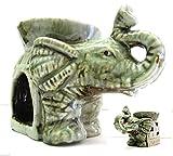 ICT Elefante Portafortuna BRUCIA ESSENZE in Ceramica Artigianale Green Nature
