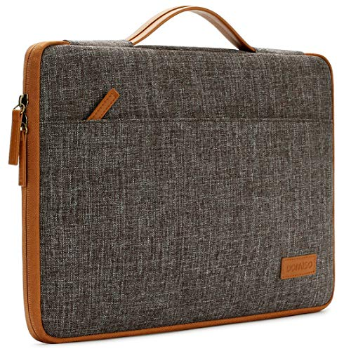 DOMISO 14 inch Laptop Sleeve Case Waterproof Carrying Bag with Handle for 14'Lenovo Chromebook S330/ThinkPad A485 E485 T480s/HP ProBook 640 645 G4/Dell Inspiron 5480 5481 5482 5490 Chromebook 14,Brown