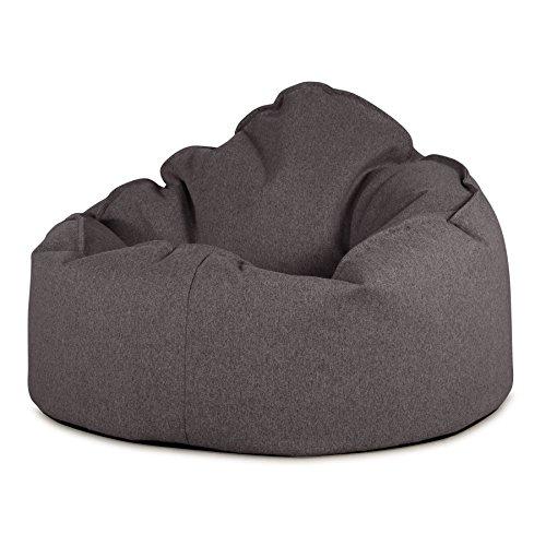 Lounge Pug®, Poltrona Sacco 'Mini Mammut', Pouf, Tessuto in Lana Interalli - Grigio