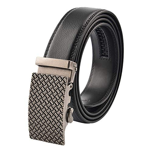 KEYNAT Men's Leather Belt - Automatic Leather Belts With Silver Ratchet Buckle (007-7)