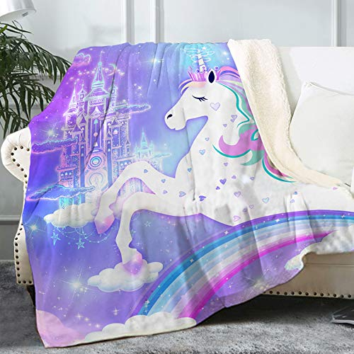"""Bonsai Tree Unicorn Blanket, Cute Rainbow Fuzzy Soft Cozy Warm Sherpa Throw Blanket for Kids Girls Women, Thick Magic Castle Purple Pink Crystal Velvet Blanket for Couch Bed Living Room, 50""""x60"""""""