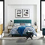 Modway Amira Tufted Fabric Upholstered Queen Bed Frame With Headboard In Teal
