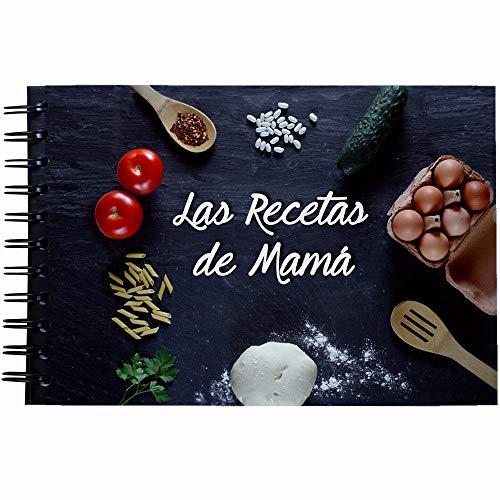 My Berry Own - Libro Las Recetas de Mamá Negro, Recetario A5, 100 páginas de recetas en blanco, con separadores de categorías, español, regalo dia de la madre, para mama