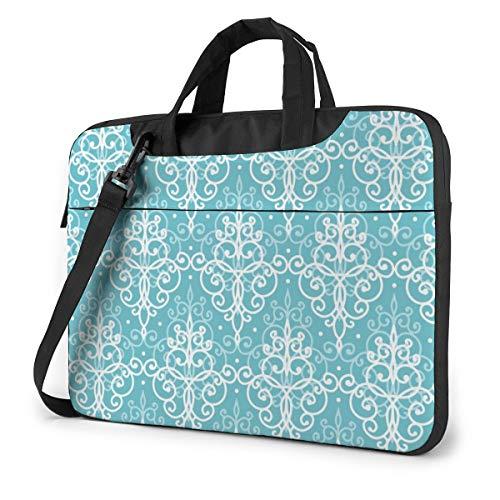 Light Blue Swirls Damask Computer Bag Durable Laptop Briefcase Shoulder Messenger Bag for Computer Notebook 15.6 inch