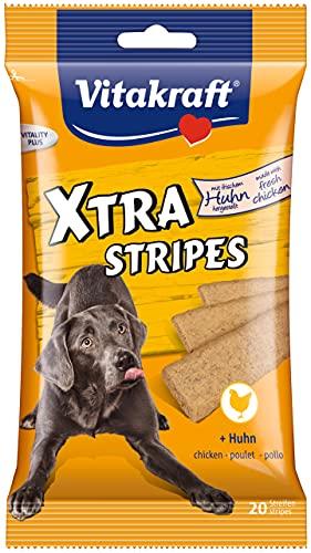 Vitakraft - Xtra Stripes, Snacks para Perros, Tiras Masticables con Carne de Pollo - 20 unidades, 10 g