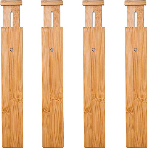 "4 Pack Bamboo Drawer Dividers, Spring Loaded Adjustable Drawer Separators (2.1"" High, 17.5""-21.65""), Perfect Expandable Wooden Drawer Dividers for Kitchen, Bedroom, Bathroom, Dresser & Office"