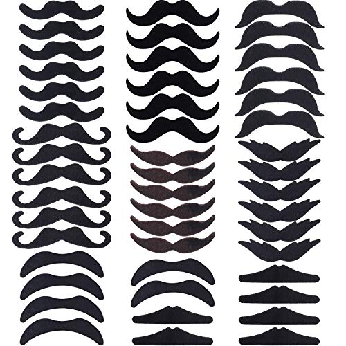Hestya 48 Pieces Fake Mustaches, Self Adhesive Novelty Mustache Fiesta Party Supplies for St. Patrick's Day Masquerade Party (8
