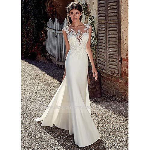 ztmyqp Stilvolle Einfachheit Brautkleider Mode Spitze Brautkleid Tüll Korsett Elegante Spitze Applique Open Back BrautballkleiderWeiß, 4