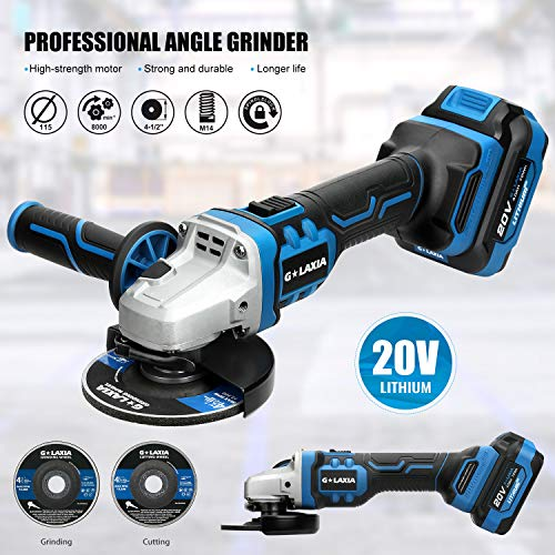 G LAXIA 20V Brushless Professional Angle Grinder 5/8 Inch with 4.0Ah Li-Ion Battery and Fast Charger, 8000RPM, 2-Position Adjustable Auxiliary Handle, 2 Grinding Wheels